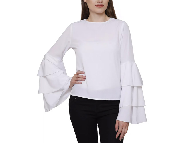 White Full Sleeve Peasant Top