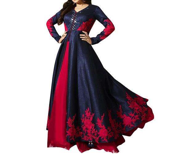 Women's Bangalori Blue & Red Anarkali Semi-Stitched Salwar Suit