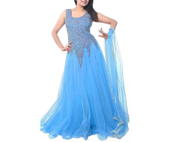 Women's Net Long Cholis Salwar Suit Set