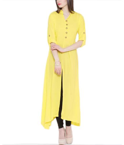 Yellow Straight Stitched Kurta