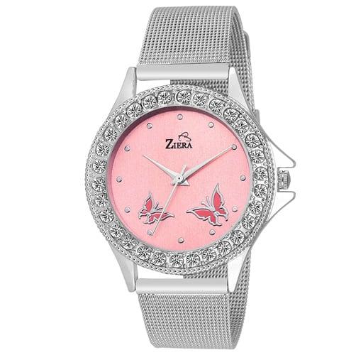 ZIERA analog Pink Dial Silver Women's Watch