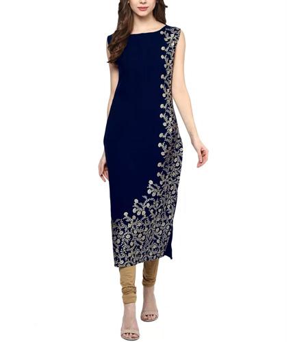 Ziyaa Women's Blue Colour Foil Print Crepe Kurti