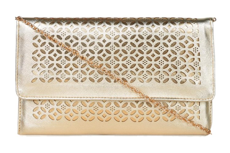 abof Champagne Gold-toned Laser-cut Clutch