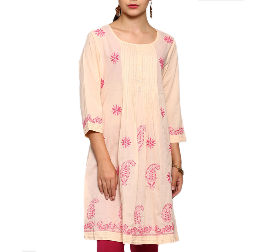 abof Ethnic Cream-colored & Pink Regular Fit Chikankari Kurta