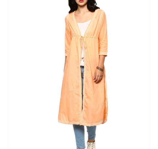 abof Fusion Peach-colored Regular Fit Long Chikankari Jacket