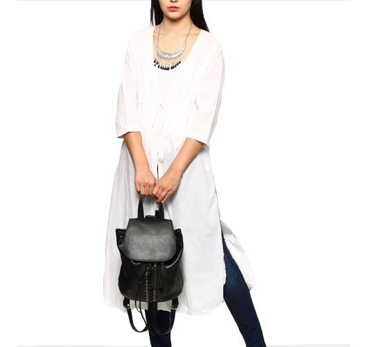 abof Fusion White Regular Fit Long Chikankari Jacket