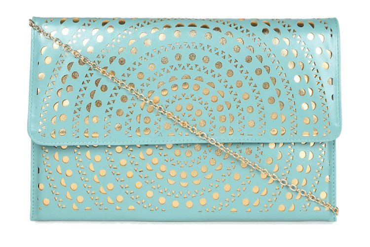 abof Mint Blue & Gold-toned Laser-cut Clutch