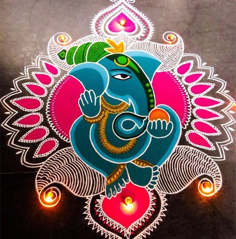 Latest Ganesh Rangoli Designs Ideas And Pictures For 2017
