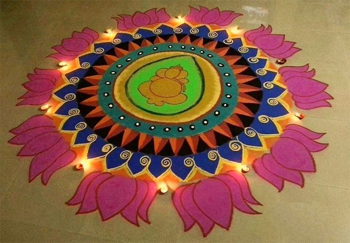 Rangoli Design with Dots for Ganesh Chaturthi