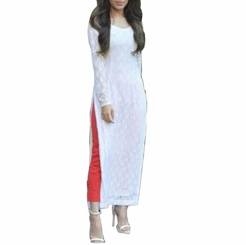 rasel net white everest dress material