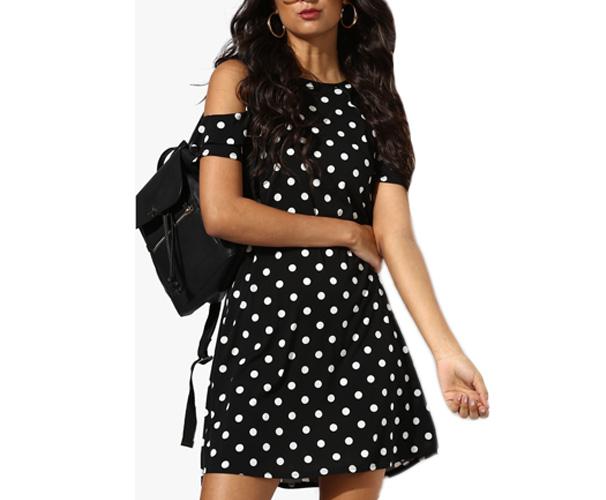 Black Coloured Printed Shift Dress