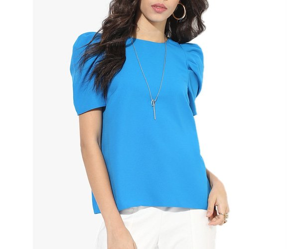 Blue Solid Blouse With Chain