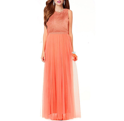 Fashions World Orange plain stitched party wear gown