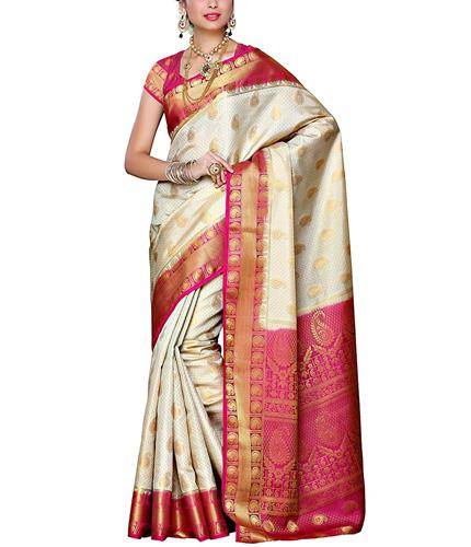 Mimosa Women's Traditional Art Silk Saree Kanjivaram Style With Blouse