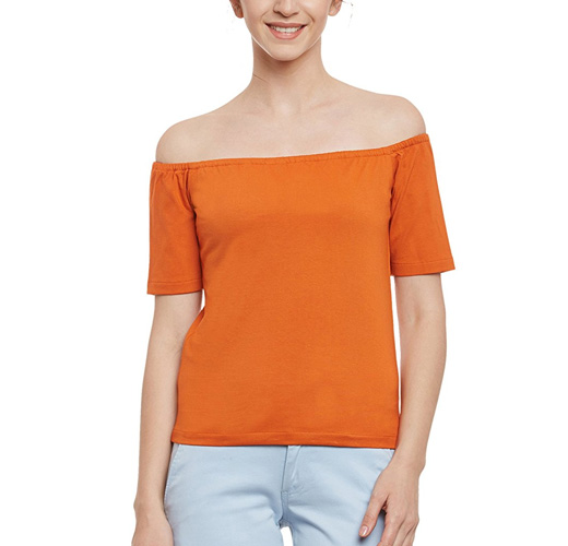 Miss Chase Womens Orange Off Shoulder Half Sleeves Bardot Style Solid Crop Top