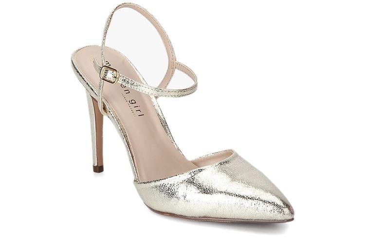 Paisleyy-Ankle Strap Golden Stilettos