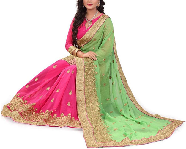 Siddeshwary Fab Women Georgette Saree With Blouse Piece