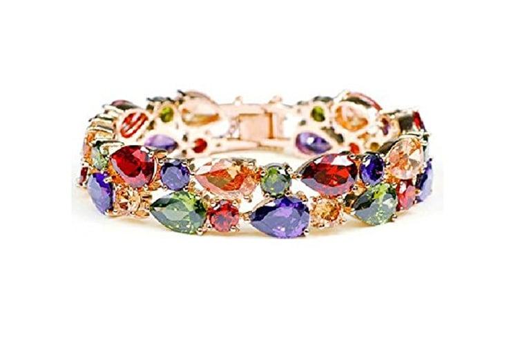 Sparkling Colors Flowerets Vine Swiss CZ 18K Rose Gold Plated Bracelet for Women