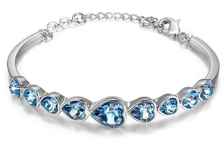 Swarovski Elements Deep Ocean Love Hearts Bracelet for Women