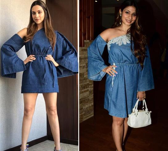 Deepika Padukone and Tanishaa Mukerji In Bell-Sleeves Denim Dress