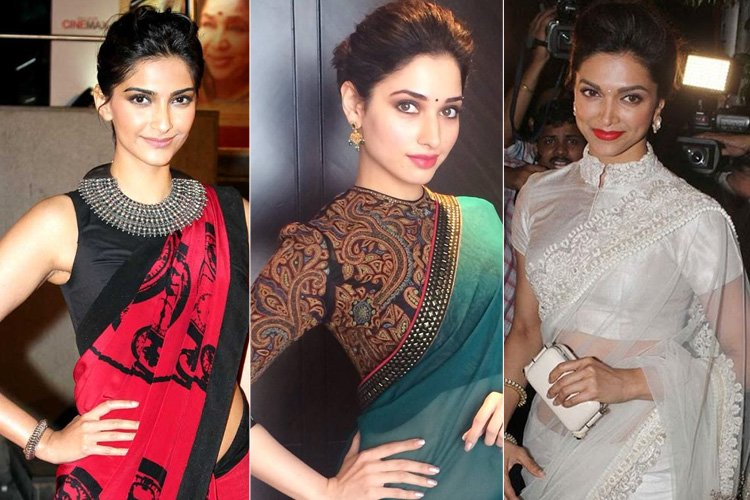 Wearing High Neck Blouse Designs With Gorgeous Sarees Show Right Here
