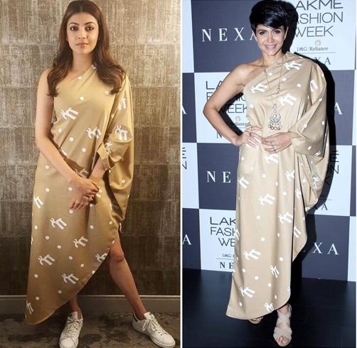 Kajal Agarwal and Mandira Bedi In Masaba Gupta One-Shoulder Dress