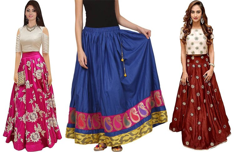 Long Skater Skirts for Durga Fesival