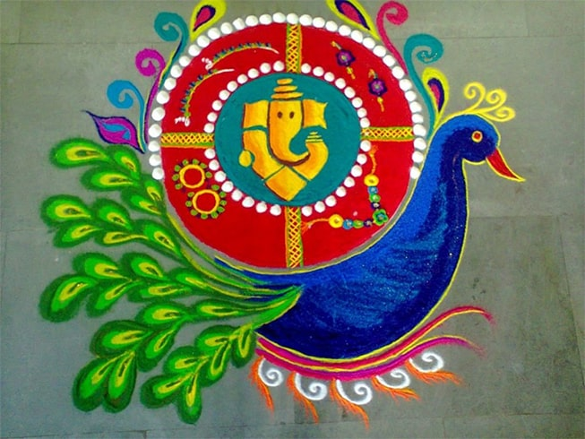 Peacock and Ganesh Rangoli