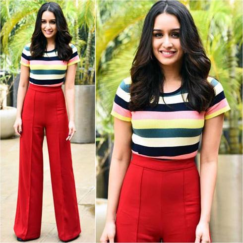 Shraddha Kapoor's Retro Red with Multicolor Stripes