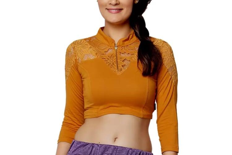 Carrel Fashion Neck Women's Stitched Blouse