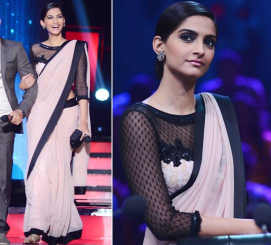 Chiffon saree in sheer netted blouse