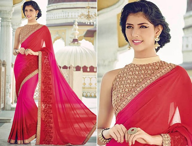 Chiffon saree with gold halter blouse