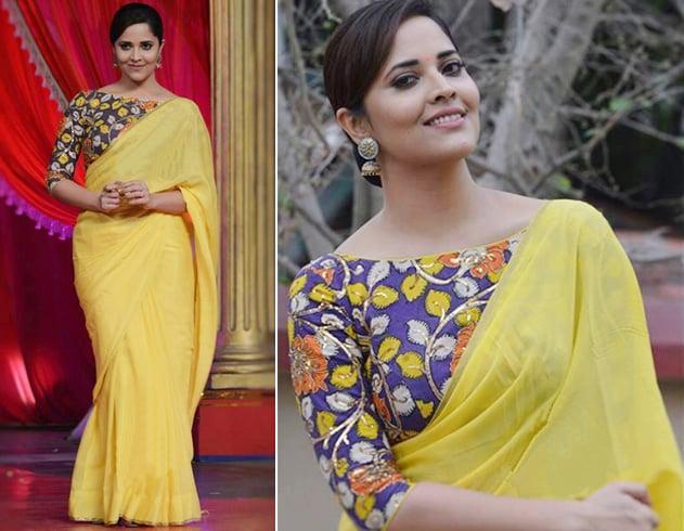 Chiffon saree with hand painted kalamkari blouse