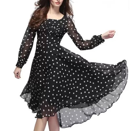 Crease and Clips Women's Fit and Flare Black Dress