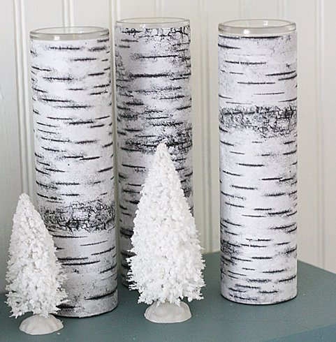 Decorating Candle Holder With Tree Bark Paper