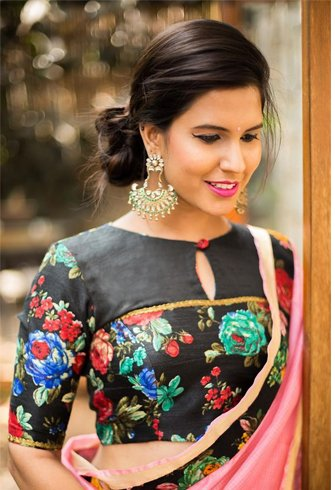 Floral embossed blouse for pattu sarees
