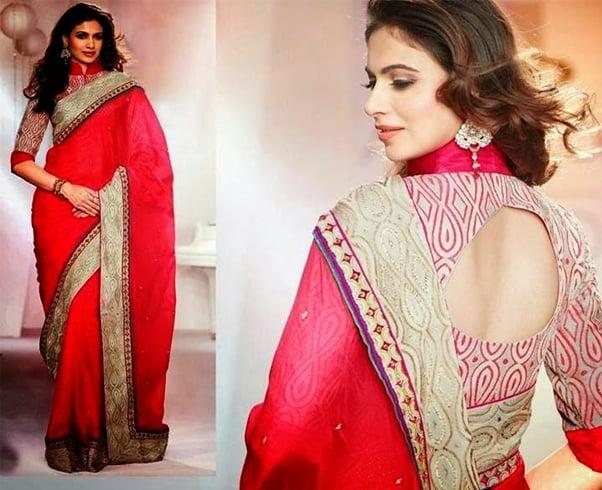 High neck blouse design for pattu sarees