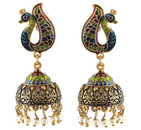 Jhumki Earrings with Meenakari Pearls for Girls and Women