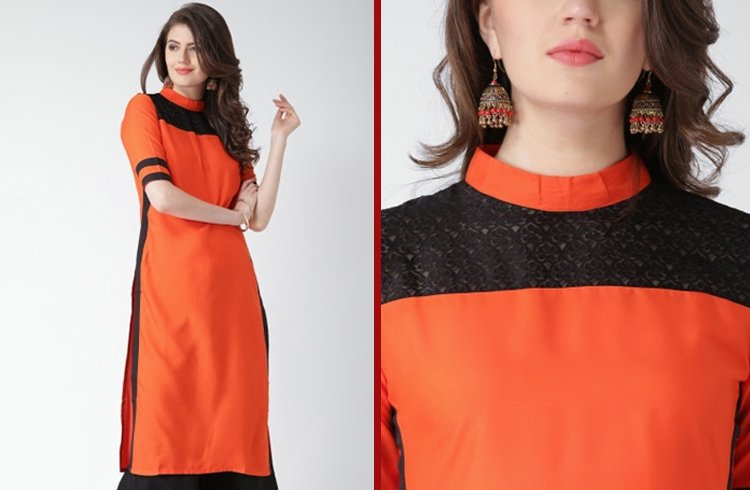 Lace Kurti With High Neck