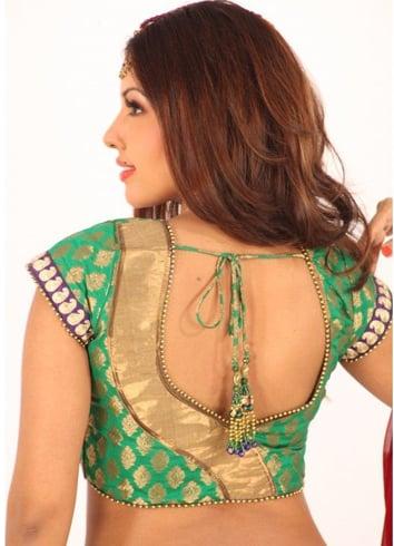 Patch work blouse design for pattu sarees