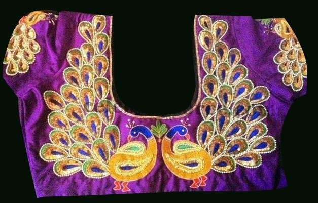 Peacock maggam blouse for pattu sarees