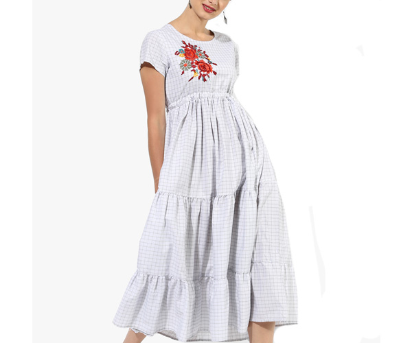 Short Sleeves Flared Skater Dress With Cross Stitch Embroidery At Front