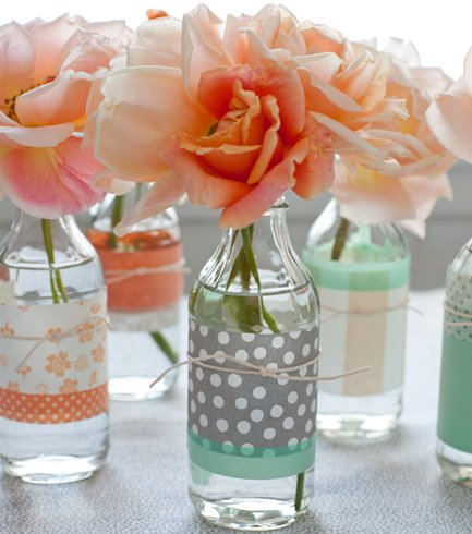 Sprucing Up Old Bottles With Colorful Paper
