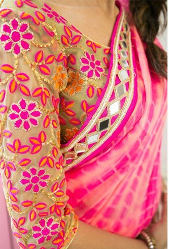 Threadwork blouse design for pattu sarees