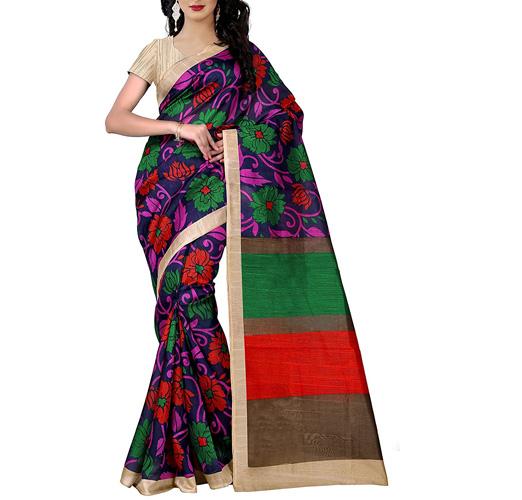Trendz Women's Cotton Silk Saree With Blouse