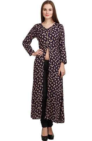 Printed Ankle Length Front Open Slit Kurti