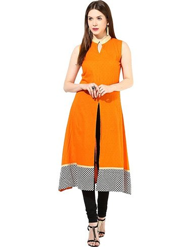 Collar Anarkali Kurta With Front Open Slit