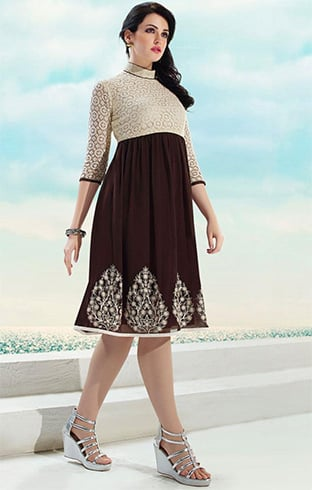 Collar neck Pakistani Designer Kurtis