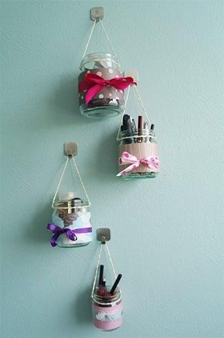 Hanging Jars For Organising Makeup