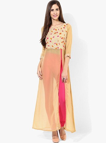 Embroidered Georgette Kurti With Front Open Slit